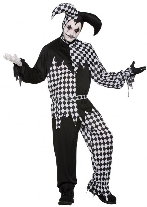 Mens Harlequin Clown Costume Medieval jester Clown Fancy Dress Outfit